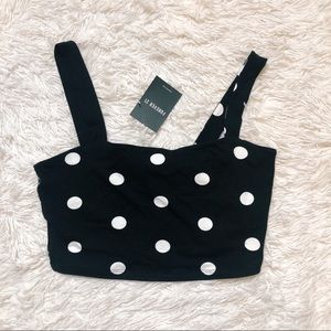 F21 Black white polka dot crop cami L